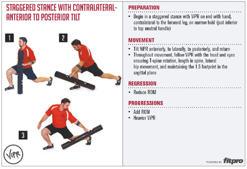 Staggered stance with contralateral-anterior to posterior tilt